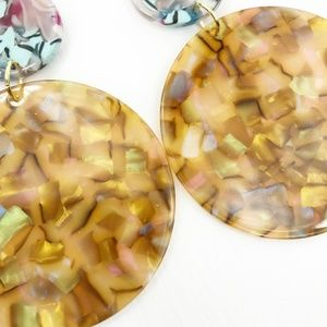 CLOSET REHAB Jewelry - Circle Drop Earrings in Iridescent Camel with Blue